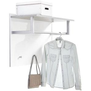 Carryhome Garderobenpaneel , Grau, Weiß , Metall , 90x60x35 cm , Hutablage, Kleiderstange , Garderobe, Garderobenpaneele