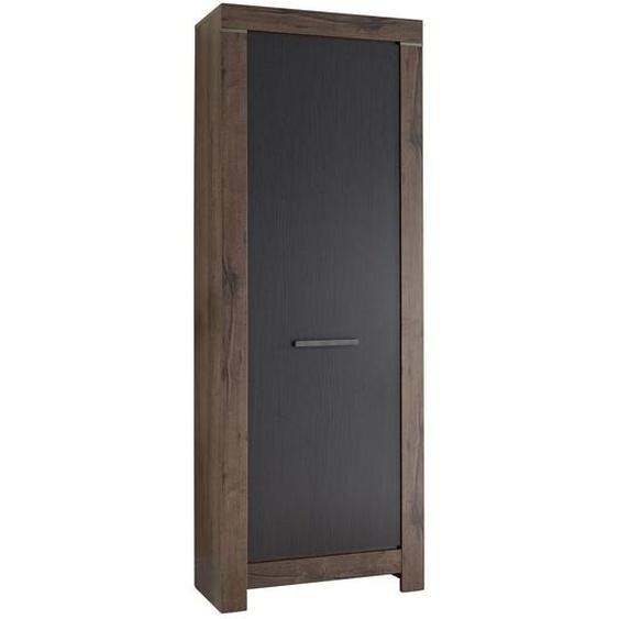 Carryhome Garderobenschrank Schwarz, Braun , Holzwerkstoff , 2 Fächer , 68x197x45 cm