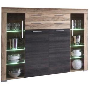 Carryhome: Highboard, Glas, Holzwerkstoff, Dunkelbraun, Nussbaum, B/H/T 160 137 40