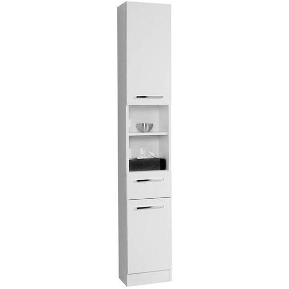 Carryhome Hochschrank Weiß , Holzwerkstoff , 3 Fächer , 1 Schubladen , 30x195.5x33 cm
