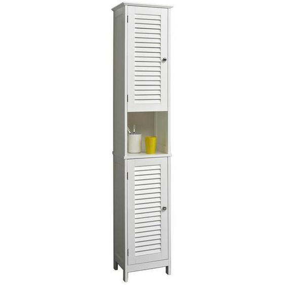 Carryhome Hochschrank Weiß , Holzwerkstoff , 3 Fächer , 32x171x30 cm