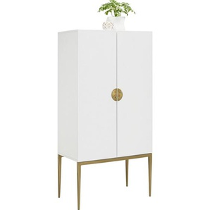 Carryhome: Hochzeitsschrank, Holzwerkstoff, Weiß, Bronze, B/H/T 70 140 40