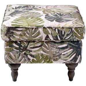 Carryhome Hocker Flachgewebe Mehrfarbig , Textil , Buche , massiv , Blätter , 55x44x55 cm