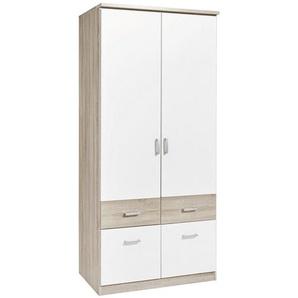 Carryhome: Kleiderschrank, Holzwerkstoff, Weiß, Sonoma Eiche, B/H/T 91 199 56