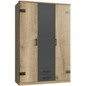 Carryhome Kleiderschrank 3-türig Grau, Braun , Graphit, Eiche , Holzwerkstoff , 4 Fächer , 2 Schubladen , 135x199x58 cm