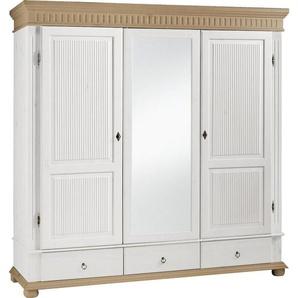 Carryhome Kleiderschrank 3-türig Kiefer massiv Weiß, Braun , Metall , 4 Fächer , 195x199x62 cm