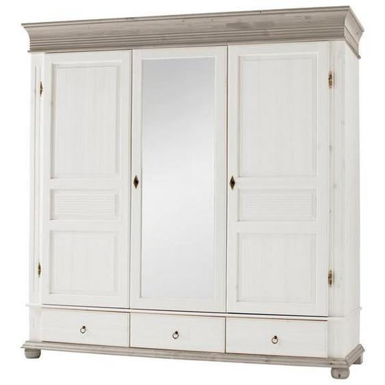 Carryhome Kleiderschrank 3-türig Kiefer massiv Weiß , Holz , massiv , 196x200x63 cm