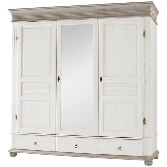 Carryhome Kleiderschrank 3-türig Kiefer massiv Weiß , Holz , massiv , 4 Fächer , 196x219x63 cm