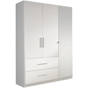 Carryhome Kleiderschrank 3-türig Weiß , Metall , 2 Fächer , 2 Schubladen , 136x197x54 cm