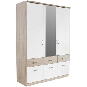 Carryhome: Kleiderschrank, Holzwerkstoff, Weiß, Sonoma Eiche, B/H/T 136 197 56