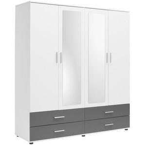 Carryhome: Kleiderschrank, Holzwerkstoff, Anthrazit, Weiß, B/H/T 168 188 52