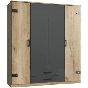 Carryhome Kleiderschrank 4-türig Grau, Braun , Graphit, Eiche , Holzwerkstoff , 2 Schubladen , 180x199x58 cm