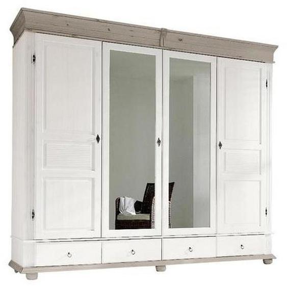 Carryhome Kleiderschrank 4-türig Kiefer massiv Weiß , Holz , 7 Fächer , 253x219x63 cm