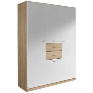 Carryhome: Kleiderschrank, Holzwerkstoff, Weiß, Sonoma Eiche, B/H/T 136 197 54