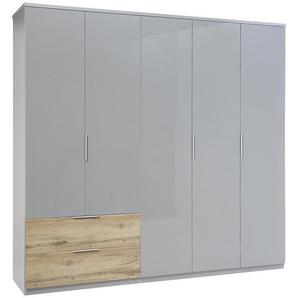 Carryhome: Kleiderschrank, Holzwerkstoff, Eiche, Hellgrau, B/H/T 226 213 58