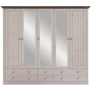 Carryhome: Kleiderschrank, Holz,Kiefer, Grau, Weiß, B/H/T 228 202 60