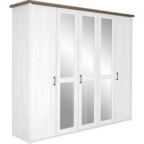 Carryhome Kleiderschrank 5-türig Weiß, Braun , Metall , 6 Fächer , 235x213x61 cm