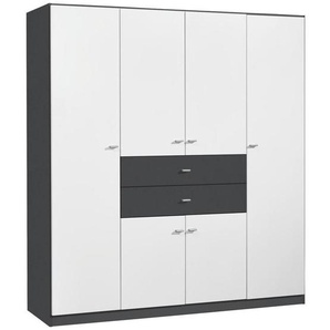 Carryhome: Kleiderschrank, Holzwerkstoff, Grau, Weiß, B/H/T 181 197 54