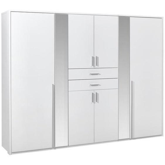 Carryhome Kleiderschrank 8-türig Weiß , Holzwerkstoff , 4 Fächer , 2 Schubladen , 270x210x58 cm