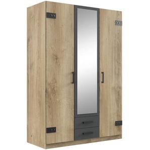 Carryhome: Kleiderschrank, Holzwerkstoff, Graphit, Eiche, B/H/T 135 199 58