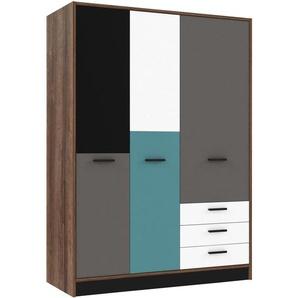 Carryhome: Kleiderschrank, Holzwerkstoff, Grau, Grün, Schwarz, Weiß, Eiche, B/H/T 143,8 200 60