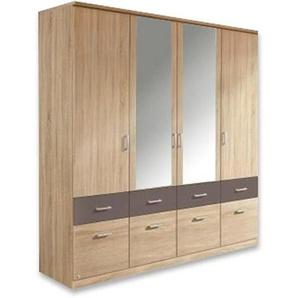Carryhome: Kleiderschrank, Holz, Eiche, Grau, B/H/T 181 199 56