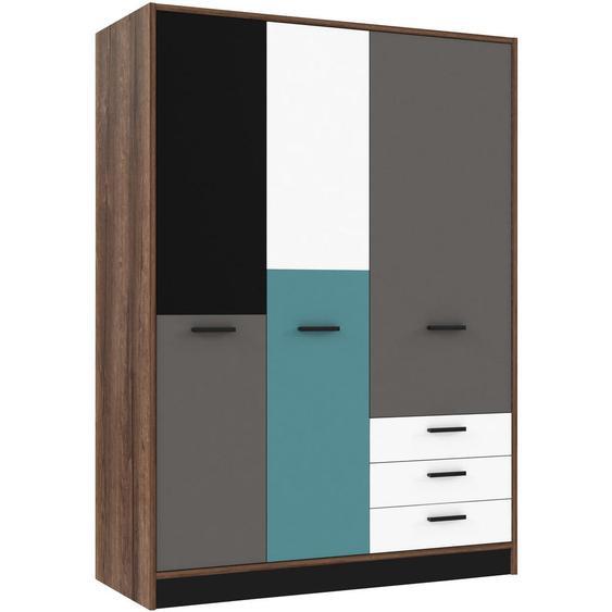 Carryhome Kleiderschrank , Mehrfarbig, Braun , Holzwerkstoff , 3 Fächer , 3 Schubladen , 143.8x200x60 cm