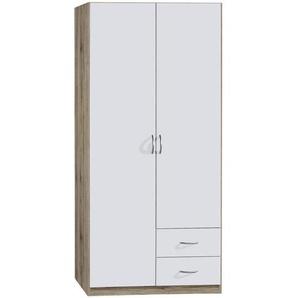 Carryhome: Kleiderschrank, Holzwerkstoff, Weiß, Eiche, B/H/T 91 197 54