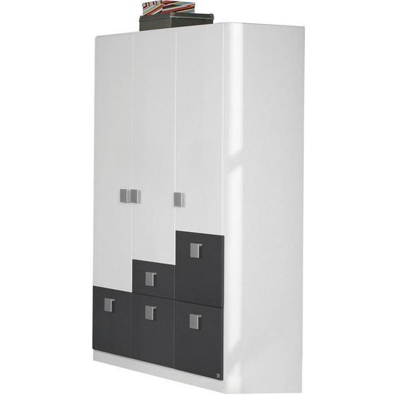 Carryhome Kleiderschrank , Weiß , Holzwerkstoff , 2 Fächer , 5 Schubladen , 136x197x54 cm