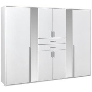 Carryhome: Kleiderschrank, Holzwerkstoff, Weiß, B/H/T 270 210 58