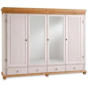 Carryhome: Kleiderschrank, Holz,Kiefer, Weiß, Kiefer, B/H/T 252 218 62