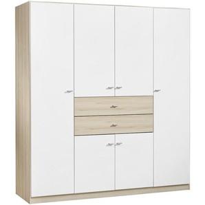 Carryhome: Kleiderschrank, Holz, Weiß, Eiche, B/H/T 181 197 54