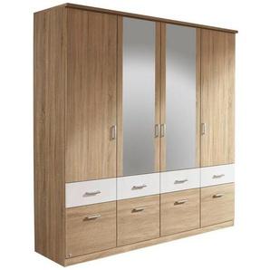 Carryhome: Kleiderschrank, Holzwerkstoff, Weiß, Eiche, B/H/T 181 197 54