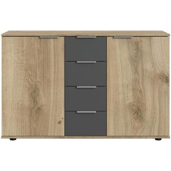 Carryhome Kommode Grau, Braun , Graphit, Eiche , Holzwerkstoff , 2 Fächer , 6 Schubladen , 130x83x41 cm