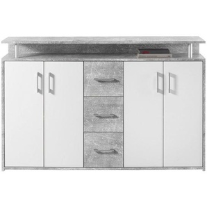 Carryhome: Highboard, Holzwerkstoff, Grau, Weiß, B/H/T 139 90 34