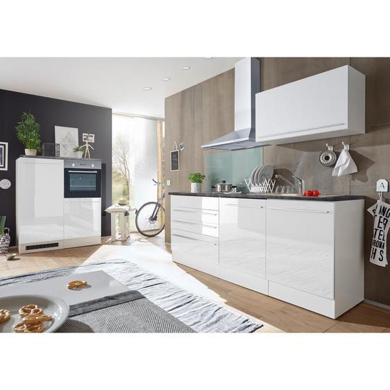 Carryhome Küchenblock in Weiß E-Geräte, Spüle, Geschirrspüler , 3 Schubladen , 200+120 cm