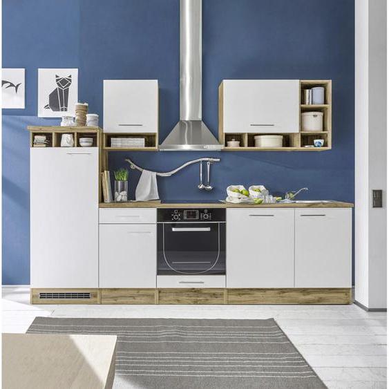 Carryhome Küchenleerblock , Weiß, Eiche , 1 Schubladen , 280 cm