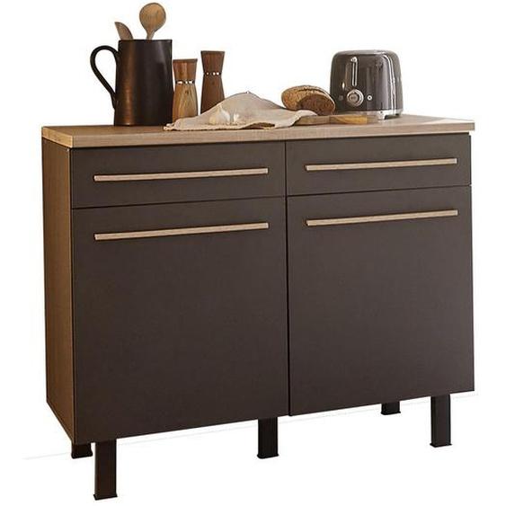 Carryhome Küchenunterschrank , Grau, Beige , Kunststoff , 1 Fächer , 2 Schubladen , 100x90x60 cm