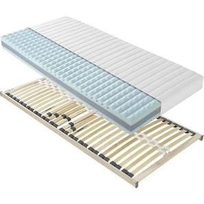 Carryhome Matratzenset , 2-teilig , H2 , 7-Zonen , Höhe ca. 20 cm , 80x190 cm , Bezug abnehmbar/waschbar, für Hausstauballergiker geeignet, wendbar, verstellbare Lattenroste atmungsaktiv, aktive Schulterzone, alternative Größen erhältlich,Federholzleisten