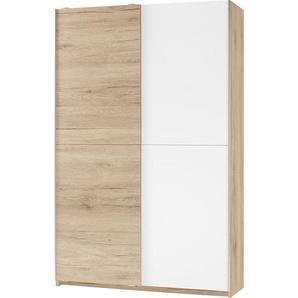 Carryhome: Eckschrank, Holzwerkstoff, Eiche, Weiß, B/H/T 125 196 38