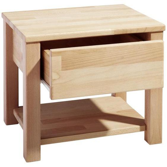 Carryhome Nachtkästchen Buche massiv Braun , Holz , 1 Schubladen , 45x37x38 cm