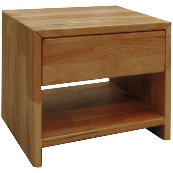 Carryhome Nachtkästchen Kernbuche massiv Braun , Holz , massiv , 1 Schubladen , 40x40x33 cm