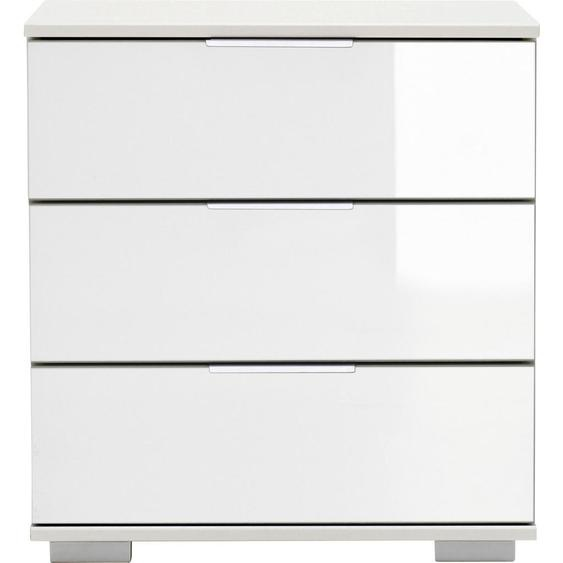 Carryhome Nachtkästchen Weiß , Glas , 3 Schubladen , 52x58x38 cm