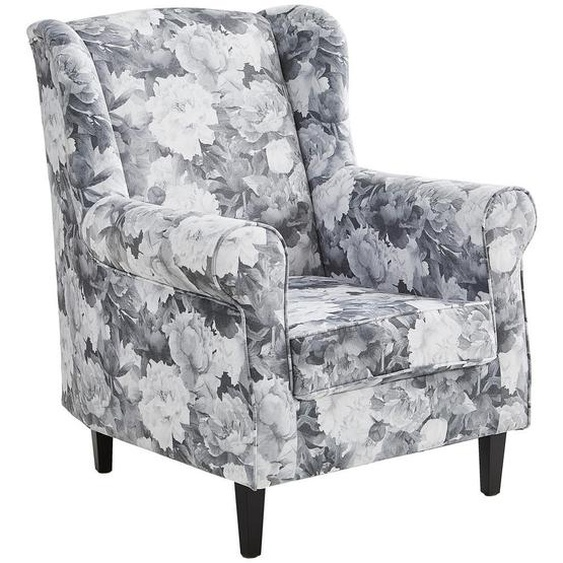 Carryhome Ohrensessel Velours Weiß , Textil , Buche , massiv , Blume , 82x100x84 cm