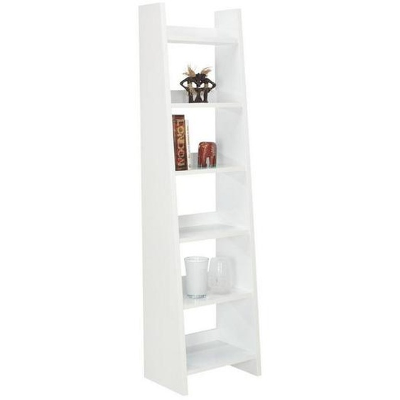Carryhome Regal Weiß , Holzwerkstoff , 6 Fächer , 55x205x38 cm