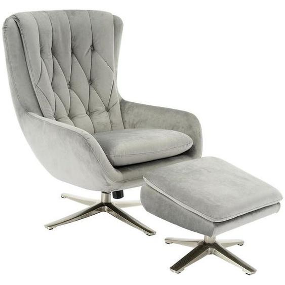 Carryhome Relaxsesselset Samt Hocker , Grau , Textil , Uni , 73x102x84 cm