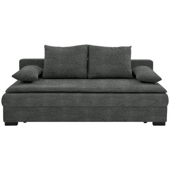 Carryhome Schlafsofa Grau , Textil , Uni , 3-Sitzer , 207x74-94x90 cm