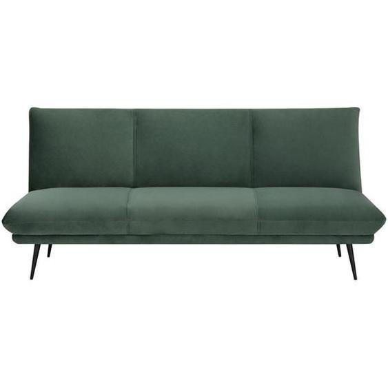 Carryhome Schlafsofa Samt Schwarz, Grün , Holz, Metall, Textil , Kiefer , massiv , 3-Sitzer , 186x85x82 cm