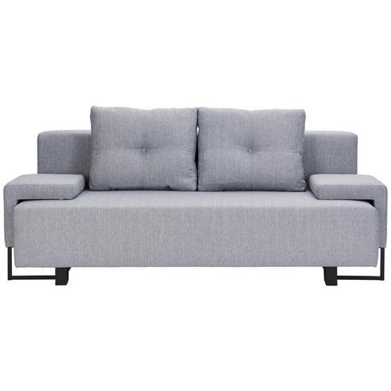 Carryhome Schlafsofa Webstoff Grau , Textil , 207x76-90x91 cm