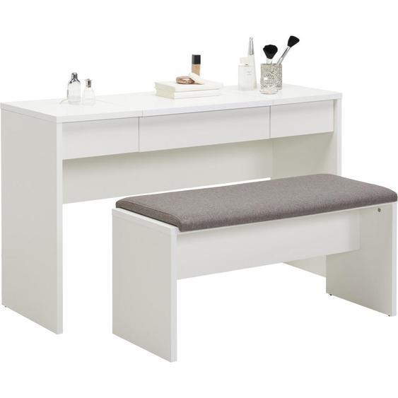 Carryhome Schminktisch Weiß , 2 Schubladen , 125x82x42 cm
